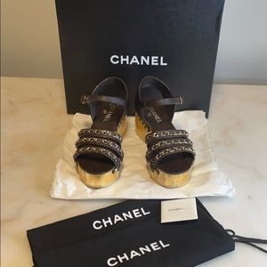 Chanel brown and gold platform sandals - size 36